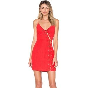 Revolve By the Way Raquel red lace up mini dress